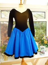 STUNNING VINTAGE *LAURA ASHLEY* BLACK VELVET & BLUE 50's STYLE SWING DRESS UK 8