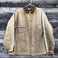 VIntage CARHARTT Chore Barn Jacket Blanket Lined Heavy Canvas Mens Union Made.