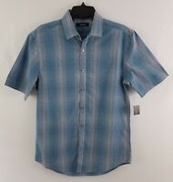 Alfani Men's Variant Grid Pattern Shirt Dull Blue 12112DL436