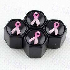 BLACK Auto Styling Tire Tyre Valve Stem Dust Caps For Breast Cancer Pink Ribbon