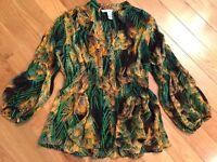 Diane Von Furstenberg Silk Sheer Tropical Beach Top Blouse Shirt Womens Size 2
