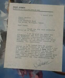 Isaac Asimov - Signed Letter - Rare - 1979