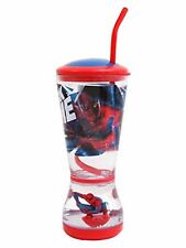Disney Official SPIDER-MAN Character Glitter Dome Bubbler Drink Glass Red/Blue