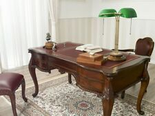 Executive writing desk Diana Chippendale style 140 cm walnut faux leather burgun