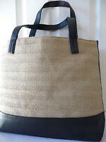 Spacious ESTEE LAUDER Hessian+Moc Croc Shopper Tote Beach Bag NEW*Black+Beige