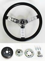"""New 1970-1973 Mustang Black Steering Wheel 14 1/2"""" with chrome spokes & horn kit"""