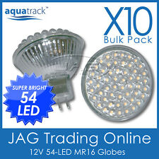 10 x 12V 54-LED MR16 WARM WHITE DOWN LIGHT GLOBES - House/Ceiling/Boat/Caravan