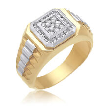 0.50ctw MEN'S 14K  2TONED GOLD  ROUND DIAMOND SI3 H-I