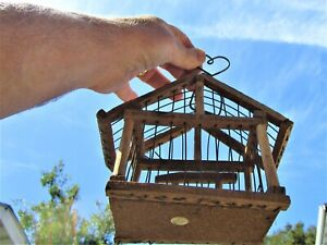 VINTAGE NATURAL WOOD AND WIRE SMALL BIRD CAGE-MEXICO