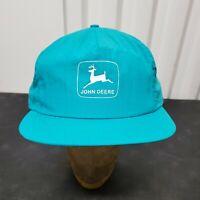 John Deere Nylon Snapback Trucker Hat Cap Swingsters Teal Blue