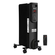 1500W Oil Heater Portable Space Heater with Display Thermostat Home Office Black