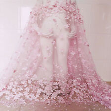 "1Yard Light Pink 3D Flower Embroidered Mesh Lace Fabric Bridal Dress 51"" Width"