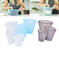 3PCS Reusable Silicone Food Storage Bags Zip Top Leak-proof Containers Stand WH