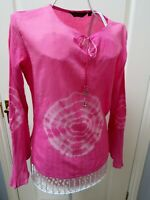 NOMADS Pink TIE DYE Top S M 8 - 10 Festival Fair Trade Ethical Boho Tunic Blouse