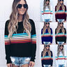 Womens Long Sleeve Rainbow Striped Ladies Pullover Top Sweater Jumper Xmas Gift
