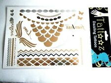 Metallic Temporary Tattoos Gold Silver Feather Hearts Butterflies 2 Sheets