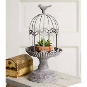 Birdcage Gazebo Cloche Pedestal Base Candle Holder Plant Stand Rustic Gray New