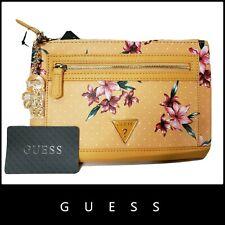 Guess Women's Yellow Floral Logo Wristlet Clutch Pouch Handbag