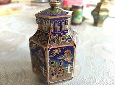 Antique CLOISONNE Cabinet Vase Container Lidded Jar Chinese ENAMEL BRASS Hexagon