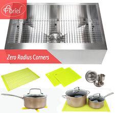 """Ariel 30"""" Stainless Steel 16 Gauge Flat Apron Kitchen Farm Sink Combo"""