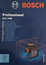 Bosch Professional Ligne Laser Gll 3 – 80, 3x360°, Sac, Valise - Neuf & Ovp