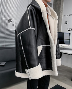 Winter Mens Warm Oversize PU Leather Jacket Hooded Outwear Loose Fit Overcoat Sz