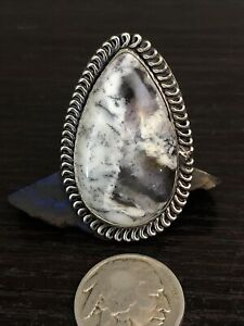 Southwest White Buffalo Turquoise Sterling Silver Black Arrow Ring 14g size 6.5
