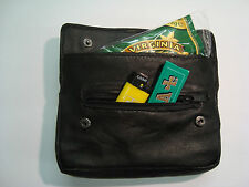 Soft Leather Tobacco Pouch with Rubber Lining and Zip Pocket