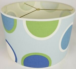 """NEW Drum Lamp Shade 15"""" Dia 10"""" H Contemporary Twister Circle Blue Fabric"""