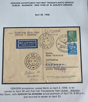 1958 Berlin DDR East Germany First Flight airmail PC Cover  to Shannon Ireland