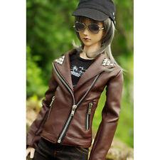 [PF] 770# Brown Faux Leather Jacket SD AOD DZ 1/3 BJD Dollfie