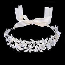 Bridal Pearl Leaf Hair Headband Ribbon Accessories Austrian Crystal Silver Tone