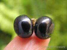 11-12mm BLACK Pearl Earring Studs - 18k Gold Plated 925 SOLID Silver