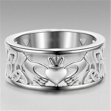 Women 925 Silver Holding hands Heart-shaped Decoration Rings Marriage Jewelry #9
