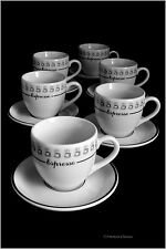 Set 6 Tall White & Black Espresso Italian-Cafe Coffee Demitasse Cups & Saucers