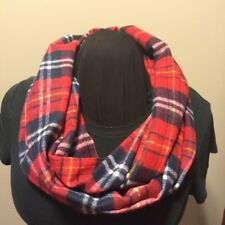Super Soft Red Navy White Yellow Plaid Woven Cotton Flannel Infinity Scarf
