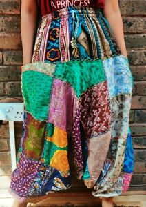 Nepalese patchwork stitched silk Hippy colorful baggy yoga pant