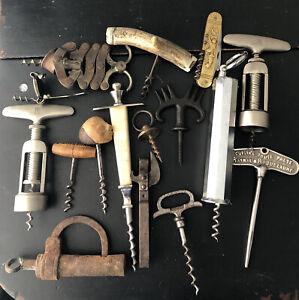 Antique Corkscrew And Pad Key Lot
