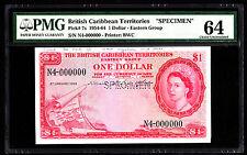 British Caribbean Specimen $1 Dollar P. 7 -7s 1964 PMG 64 Choice UNC Rare Note