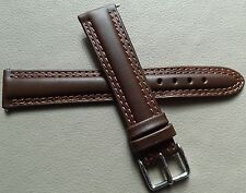 Timex Men's 19mm Brown Padded Genuine Leather Silver Tone Buckle Watch Band