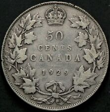 1929 Canada 50 Cents Silver King George V #13392