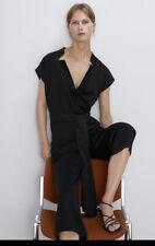 Zara Black Jumpsuit Blogger Fav V Neck Size L Large