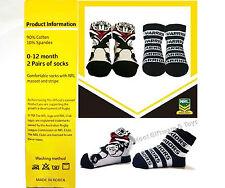 NRL New Zealand Warriors Mascot & Team Socks 2 pairs Newborn Baby 0-12 months