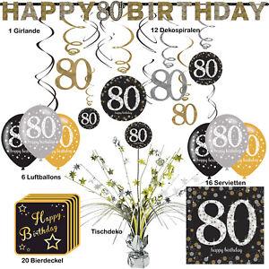 80.Geburtstag 56 tlg Partyset Dekopaket Tischdekoration Partyzubehör Deko zum 80