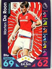 Match Attax 2016/17 Premier League - #206 Marten De Roon - Middlesbrough