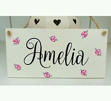 Shabby chic roses personalised girls name  bedroom sign plaque