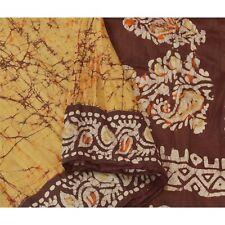 Sanskriti Vintage Yellow Saree 100% Pure Silk Batik Work Craft Fabric 5 Yd Sari