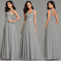 Ever-Pretty Long Lace Evening Prom Gowns Grey Chiffon Bridesmaid Dresses 07704