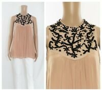 ex Monsoon Nude Tulipa Bead Embellished High Neck Pleated Tunic Top RRP£79
