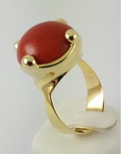 korallen-ring - SERIE 750 Oro Amarillo - rojo coral - talla 62